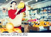 Купить «Customer shows the purchases», фото № 29412352, снято 1 марта 2017 г. (c) Яков Филимонов / Фотобанк Лори