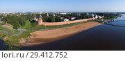 Купить «Aerial panorama of Novgorod Kremlin», фото № 29412752, снято 2 августа 2018 г. (c) Михаил Коханчиков / Фотобанк Лори