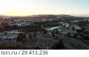 Купить «Gori city in Georgia Stalin's homeland 4K drone flight», видеоролик № 29413236, снято 6 ноября 2018 г. (c) Aleksejs Bergmanis / Фотобанк Лори