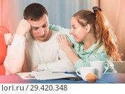 Купить «Couple struggling to pay bills», фото № 29420348, снято 18 марта 2017 г. (c) Яков Филимонов / Фотобанк Лори