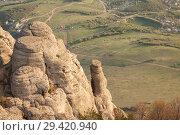 Купить «Rock formations of the Demerdji mountain, Crimea, Russia. Valley of Ghosts, landmark of Crimea», фото № 29420940, снято 22 января 2019 г. (c) Владимир Пойлов / Фотобанк Лори
