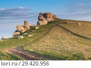 Купить «Rock formations of the Demerdji mountain, Crimea, Russia. Valley of Ghosts, landmark of Crimea», фото № 29420956, снято 22 января 2019 г. (c) Владимир Пойлов / Фотобанк Лори