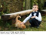 Купить «Маленький мальчик на улице с рыжим котом», эксклюзивное фото № 29421072, снято 20 сентября 2018 г. (c) Игорь Низов / Фотобанк Лори