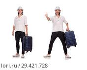 Купить «Tourist with suitcase isolated on white», фото № 29421728, снято 22 ноября 2013 г. (c) Elnur / Фотобанк Лори