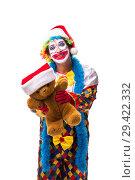 Купить «Young funny clown comedian isolated on white», фото № 29422332, снято 20 июля 2018 г. (c) Elnur / Фотобанк Лори