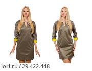 Купить «Blondie in gray satin dress isolated on white», фото № 29422448, снято 17 сентября 2014 г. (c) Elnur / Фотобанк Лори