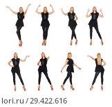 Купить «Pretty woman in tight black pants isolated on white», фото № 29422616, снято 22 сентября 2014 г. (c) Elnur / Фотобанк Лори
