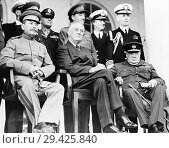 Купить «Tehran Conference. Joseph Stalin (left), Franklin D. Roosevelt (centre) and Winston Churchill. The conference was held from November 28 to December 1,...», фото № 29425840, снято 11 февраля 2015 г. (c) age Fotostock / Фотобанк Лори