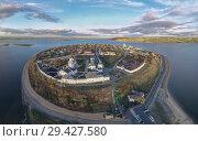 Купить «Город-остров Свияжск, вид сверху», фото № 29427580, снято 13 октября 2018 г. (c) Геннадий Соловьев / Фотобанк Лори