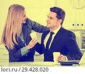 Купить «Sexual harassment between colleagues», фото № 29428020, снято 20 апреля 2017 г. (c) Яков Филимонов / Фотобанк Лори