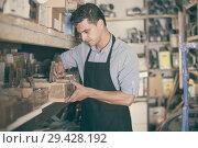 sellerman considers the small details in the boxes. Стоковое фото, фотограф Яков Филимонов / Фотобанк Лори