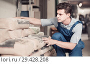 Купить «interested male in uniform is choosing cement in the building store», фото № 29428208, снято 26 июля 2017 г. (c) Яков Филимонов / Фотобанк Лори