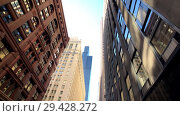 Купить «Panorama of downtown at day time, observing architecture, city life», видеоролик № 29428272, снято 16 сентября 2018 г. (c) Антон Гвоздиков / Фотобанк Лори