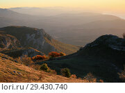 Купить «Beautiful hills and mountains in the Karabi valley in the morning haze at sunrise», фото № 29430740, снято 13 октября 2018 г. (c) Яна Королёва / Фотобанк Лори