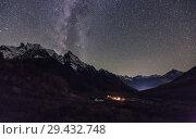 Купить «Night view of tourist camp in Dombay, Russia», фото № 29432748, снято 13 октября 2017 г. (c) Донцов Евгений Викторович / Фотобанк Лори