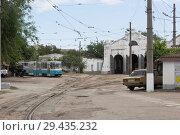 Купить «Трамвайное депо на улице Белинского в городе Евпатории, Крым», фото № 29435232, снято 1 июля 2018 г. (c) Николай Мухорин / Фотобанк Лори