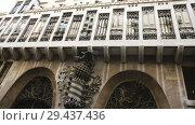 Купить «Facade of Guell Palace by Antoni Gaudi», видеоролик № 29437436, снято 2 сентября 2018 г. (c) Яков Филимонов / Фотобанк Лори