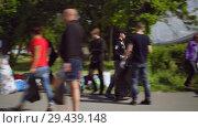Купить «Mobile receiving point of waste recycling. environmental movement RAZdelniy sbor», видеоролик № 29439148, снято 2 июня 2018 г. (c) Ирина Мойсеева / Фотобанк Лори