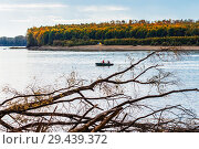 Купить «Рыбаки на алюминиевой лодке плывут по реке. Река Обь, Верх-Сузун, Сузунский район, Новосибирская область, Западная Сибирь, Россия», фото № 29439372, снято 22 сентября 2018 г. (c) Евгений Мухортов / Фотобанк Лори