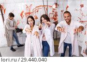 Купить «Young adults posing as zombies», фото № 29440040, снято 8 октября 2018 г. (c) Яков Филимонов / Фотобанк Лори