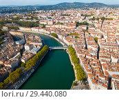 Купить «View from drone of Lyon, France», фото № 29440080, снято 12 октября 2018 г. (c) Яков Филимонов / Фотобанк Лори