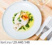 Купить «Top view of fried sepia with green sauce», фото № 29440148, снято 21 января 2019 г. (c) Яков Филимонов / Фотобанк Лори