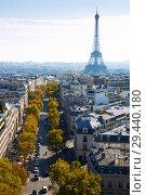 Купить «Aerial view of Paris with Eiffel Tower», фото № 29440180, снято 10 октября 2018 г. (c) Яков Филимонов / Фотобанк Лори