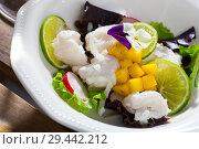 Купить «Cod ceviche with mango and lime», фото № 29442212, снято 21 ноября 2019 г. (c) Яков Филимонов / Фотобанк Лори