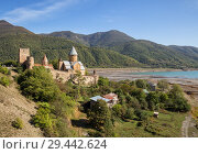 Купить «Ananuri medieval fortress on Aragvi river and Zhinvali reservoir in Georgia», фото № 29442624, снято 24 сентября 2018 г. (c) Юлия Бабкина / Фотобанк Лори