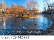 Купить «Городской осенний пейзаж в Екатерининском парке Москвы. Тонкий лед на пруду в ноябре.», фото № 29442972, снято 16 ноября 2018 г. (c) Татьяна Белова / Фотобанк Лори