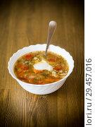Купить «vegetable soup with meatballs and pepper in a plate», фото № 29457016, снято 14 ноября 2018 г. (c) Peredniankina / Фотобанк Лори