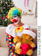 Купить «Funny clown in Christmas celebration concept», фото № 29458532, снято 20 июля 2018 г. (c) Elnur / Фотобанк Лори