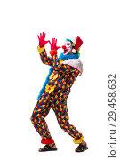 Купить «Young funny clown comedian isolated on white», фото № 29458632, снято 20 июля 2018 г. (c) Elnur / Фотобанк Лори