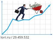 Купить «Businessman pushing wheelbarrow full of dollar money», фото № 29459532, снято 23 апреля 2019 г. (c) Elnur / Фотобанк Лори