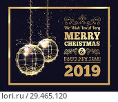 Купить «New Year's Christmas balls, on luminous golden ribbons, in the style of art deco. Geometric golden spheres, in the form of points connected by lines with glitters. Gold on dark style. Vector», иллюстрация № 29465120 (c) Павлов Максим / Фотобанк Лори