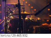 Купить «Rock drum set. Warm toned close-up photo», фото № 29465932, снято 11 декабря 2016 г. (c) EugeneSergeev / Фотобанк Лори