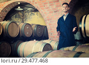 Купить «portrait of young male wine maker in coat working in winery cellaryoung wine maker in cellarman, male, young, working, winery, wine, cellar, wood, aging, standing, looking, expert, manufactory, uniform, bottler, equipment, section, alcohol, beverage, winemaking, professional, occupation, small, tank, processing, barrel, compartment, container, positive, european, caucasian, 20s, 30-35, portrait, examining, cheerful, glad, production, taste, factory, employed, showing, visiting, coveralls, unit, one, promoting, checking, coat, quality, control, craft, man, male, young,working, winery, wine, standing, cellar, wood, aging, looking, expert, manufactory, uniform, bottler, equipment, section, alcohol, bottle, beverage, winemaking, professional, occupation, processing, barrel, compartment, container, positive, caucasian, american, 30s, 25-29, expertise, smiling, producer, one, segment, label, selective, check-up, attentive, leaning,», фото № 29477468, снято 19 января 2019 г. (c) Яков Филимонов / Фотобанк Лори