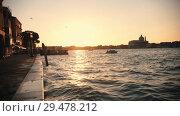 Купить «Landscaped Bank of the river on which sail the boats», видеоролик № 29478212, снято 25 марта 2019 г. (c) Константин Шишкин / Фотобанк Лори
