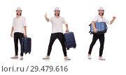 Купить «Tourist with suitcase isolated on white», фото № 29479616, снято 22 ноября 2013 г. (c) Elnur / Фотобанк Лори