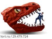 Купить «Businessman in crisis and recession concept», фото № 29479724, снято 18 марта 2019 г. (c) Elnur / Фотобанк Лори