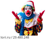 Купить «Young funny clown comedian isolated on white», фото № 29480248, снято 20 июля 2018 г. (c) Elnur / Фотобанк Лори