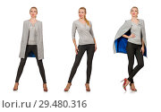 Купить «Pretty woman in gray blouse isolated on white», фото № 29480316, снято 17 сентября 2014 г. (c) Elnur / Фотобанк Лори