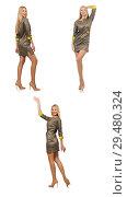 Купить «Blondie in gray satin dress isolated on white», фото № 29480324, снято 17 сентября 2014 г. (c) Elnur / Фотобанк Лори