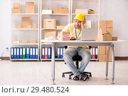 Купить «Handsome contractor working in box delivery relocation service», фото № 29480524, снято 24 июля 2018 г. (c) Elnur / Фотобанк Лори