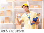 Купить «Handsome contractor working in box delivery relocation service», фото № 29480540, снято 24 июля 2018 г. (c) Elnur / Фотобанк Лори