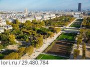 Купить «Paris with Champ de Mars and Hotel des Invalides from Eiffel Tower», фото № 29480784, снято 10 октября 2018 г. (c) Яков Филимонов / Фотобанк Лори