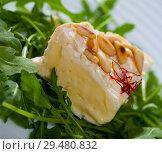 Купить «Camembert cheese with pine nuts and arugula», фото № 29480832, снято 25 мая 2020 г. (c) Яков Филимонов / Фотобанк Лори