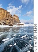 Купить «Lake Baikal. Beautiful winter landscape of the frozen Small Sea Strait  and the cliffs of the Ogoy Island», фото № 29484956, снято 1 марта 2015 г. (c) Виктория Катьянова / Фотобанк Лори
