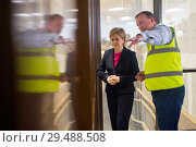 Купить «Scottish First Minister Nicola Sturgeon attends Norbord in Inverness to unveil one of the largest single inward investments made into Scotland. Featuring...», фото № 29488508, снято 23 апреля 2018 г. (c) age Fotostock / Фотобанк Лори
