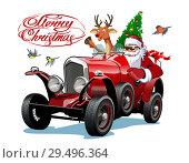 Купить «Vector Christmas Greeting Card with Christmas lettering», иллюстрация № 29496364 (c) Александр Володин / Фотобанк Лори